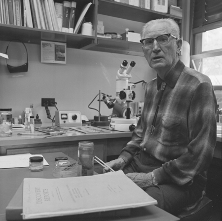 Martin Wiggo Johnson in his office at Scripps Institution of Oceanography. In his career he contributed insight and direct...