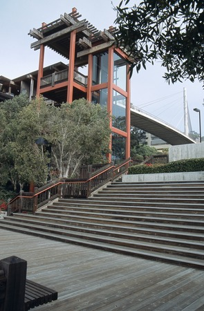 Scripps Institution of Oceanography: exterior: west stairs and elevator tower