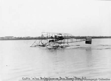 Curtiss in his hydroplane, San Diego Bay, Cal[ifornia]