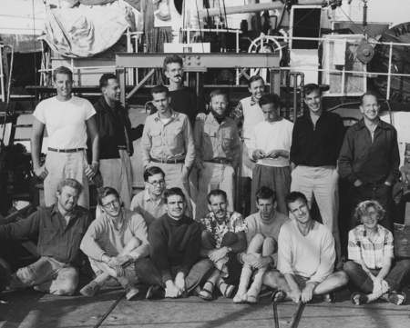 Scientists on the fantail of R/V Spencer F. Baird (ship) homeward bound from the Capricorn Expedition (1952-1953). Back ro...