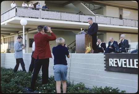 Roger Revelle speaking at the Revelle College dedication ceremony