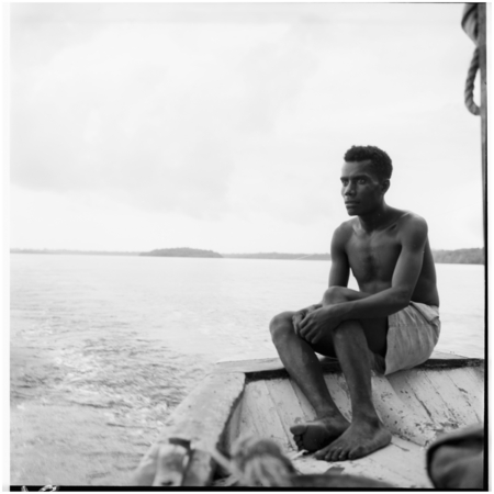 Man on boat at Choiseul Bay