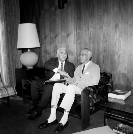 UCSD Chancellor William J. (William James) McGill (left) and Ernest W. Mandeville (right) during the Mandeville gift and e...