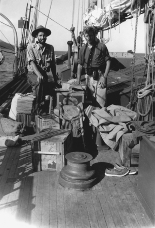 [Men on deck of R/V E.W. Scripps with supplies]