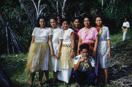 A group of natives pose for a photo during the luau given to the scientist of the Capricorn Expedition (1952-1953) on the ...