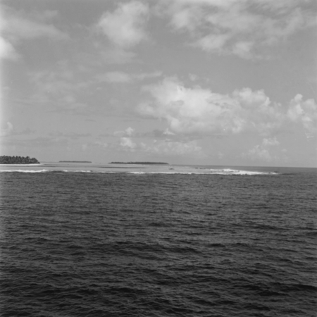 A view of Palmerston Island as seen from one of the ships during the Capricorn Expedition (1952-1953), Palmerston Island i...