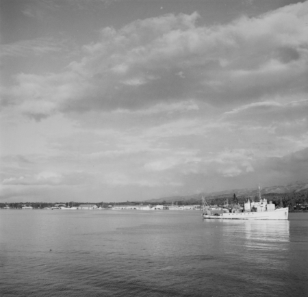 R/V Horizon (ship) in a Tahiti harbor during a break from the Capricorn Expedition (1952-1953). January 1953.