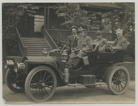 "Ed Fletcher, ""Fighting Bob"" Evans, William B. Gross, and unnamed man in automobile"