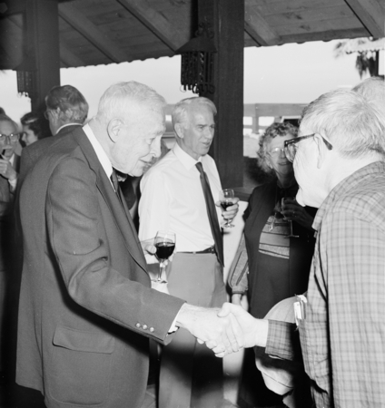 Roger Revelle's 80th birthday party, March 7, 1989. Willard Bascom behind Roger Revelle