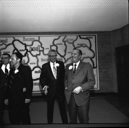 [Herbert F. York, Gabriel Jackson, Elliott Cushman and Clayton Brace at dedication of UCSD Central University Library, cMa...