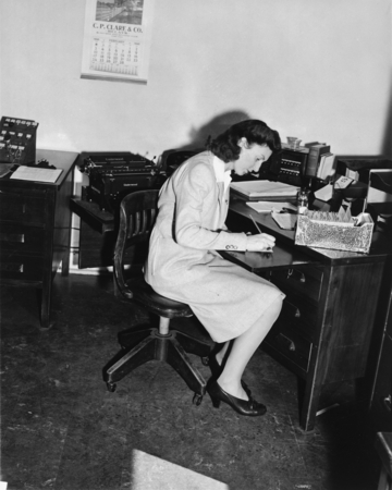 Woman in office, University of California Division of War Research