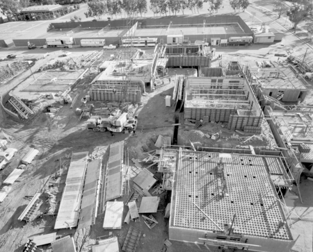 Aerial view of the construction at Muir and Revelle College on the campus of UCSD. December 21, 1970.