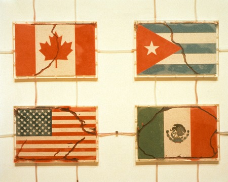 "America: detail of the ""flags"" of Canada, the United States, Cuba and Mexico with ants removing sand from each"