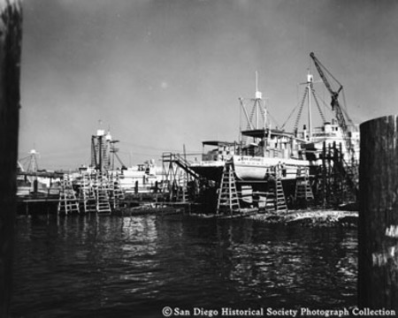 Tuna boats in drydock at Campbell Machine Company