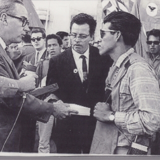 AS WE ENTER SACRAMENTO, WE ARE GREETED  BY THE DEPUTY MAYOR OF SACRAMENTO IN THE ABSENCE OF THE GOVERNOR WHO WAS NOT TO GREET US AND WAS SPENDING EASTER SUNDAY IN PALM SPRINGS WITH FRIENDS! I WAS PRESENTED WITH THE KEY TO THE CITY ON APRIL 10, 1966.