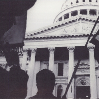 REACHING THE CAPITOL ON APRIL 10, 1966 AND BEING CHEERED  BY OUR FAMILIES AND OUR SUPPORTERS WHO SWELL TO THE TEN THOUSAND WHO WERE THERE TO SEE THE MARCHERS ACCOMPLISH THE MISSION OF THE FIRST MARCH TO THE CAPITOL BY FARMWORKERS.