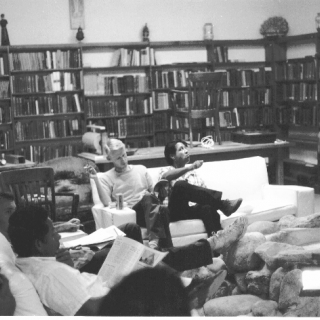 LeRoy Chatfield & Cesar Chavez during a break at a Spring Offensive Retreat at St. Anthony\'s Seminary in Santa Barbara./ Photo by Nick Jones
