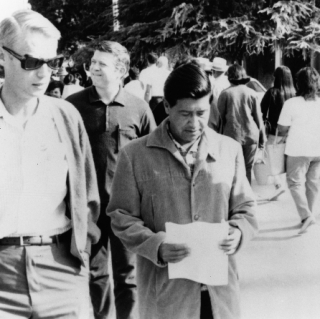 LeRoy Chatfield & Cesar Chavez at an event or demonstration now not remembered.