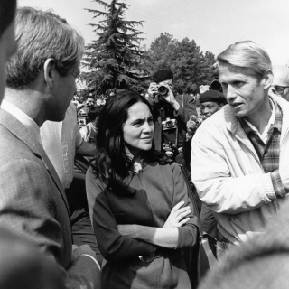 A very rare photo: Senator Robert F. Kennedy, Dolores Huerta, & LeRoy Chatfield together at the close of the Fast For NonViolence.
