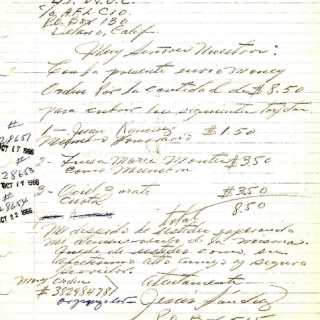 Correspondence To UFWOC Membership Department With Dues /. October 1966
