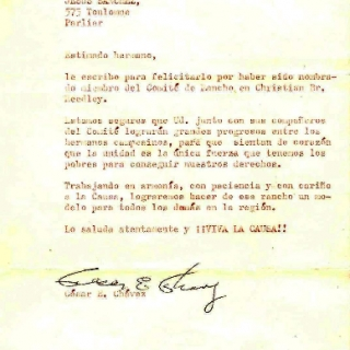 Congratulatory Letter From Cesar Chavez To Jesus Sanchez / May 1970