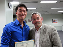 Allen Pei (Revelle), 2nd Prize winner in the Life & Physical Sciences category, with Professor Joseph Wang, his faculty advisor.
