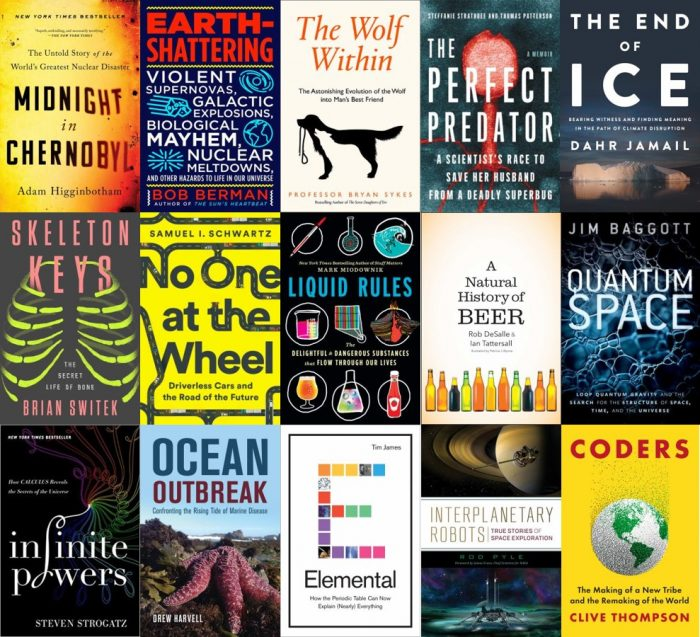 Book covers from the latest batch of popsci books.