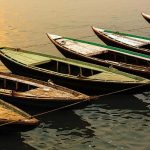wooden boats on the Ganges River