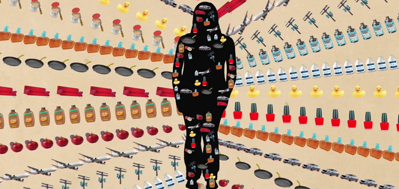 silhouette of a woman with images of items that possible contribute toxins to the environment