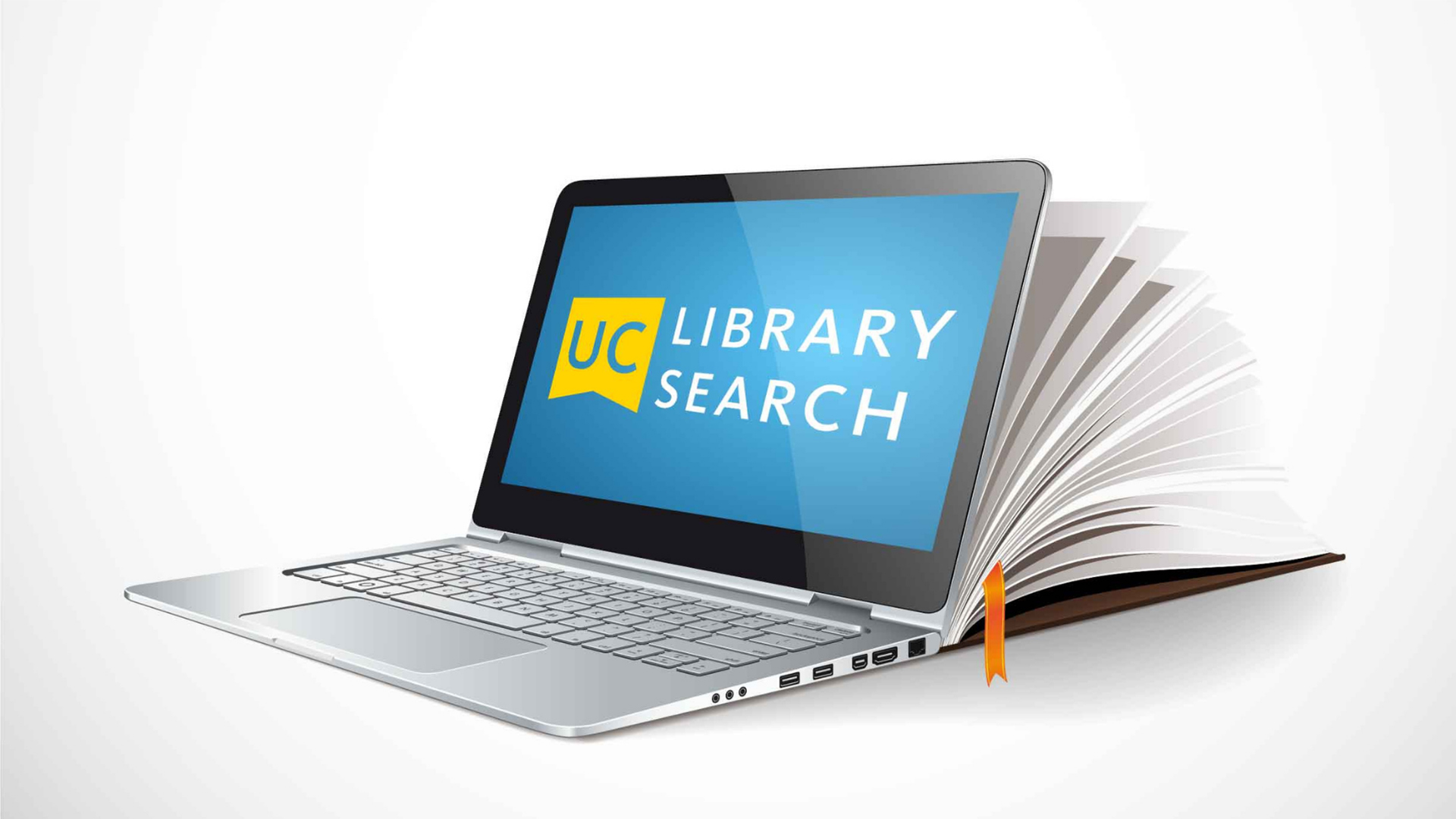 Image with UC Library Search logo and a laptop open that transitions into a book.