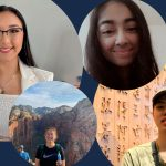 The UC San Diego Library's 2021 Undergraduate Library Research Prize (ULRP) honorees. From left to right: Jacqueline (Jackie) Villasenor, Rachel Tam, Shruti Magesh and Joseph Tsai.